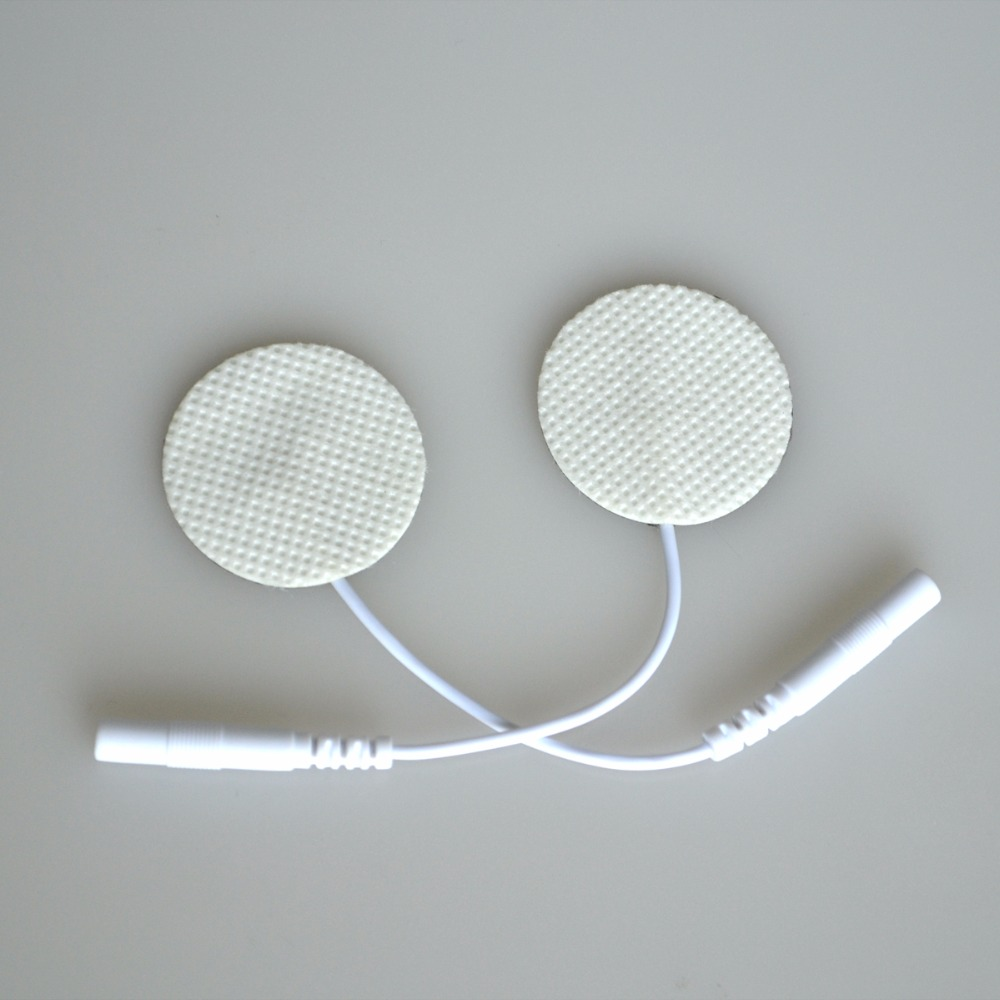 Hot Sale 10Pairs/Pack TENS Massager Therapy Electrode Pads Circle Nonwoven Silicone Adhesive Patches With Pin Hole Wire hot sale free shipping 50pairs pack nonwoven replacement silcone adhesive tens massager patches physiotherapy electrode pads