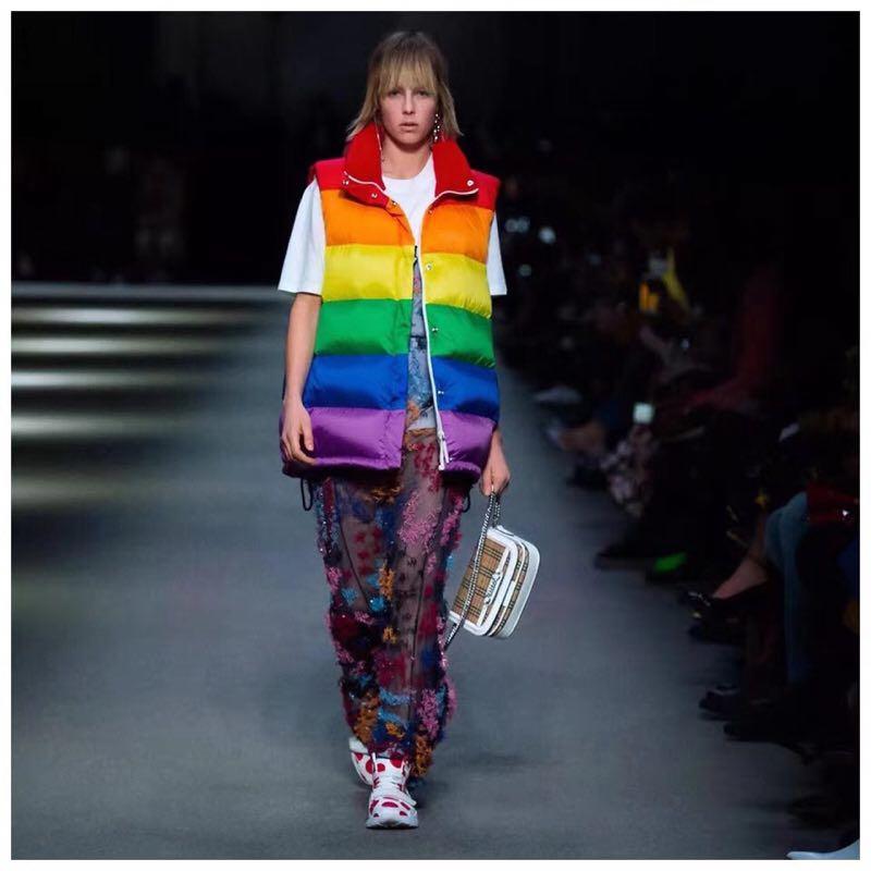 en Bas Duvet 2018 Vers Femme Hiver Court Arc Gilet Nouveau Le Belle Épais Blanche rayures Extérieur D'oie PRwggA
