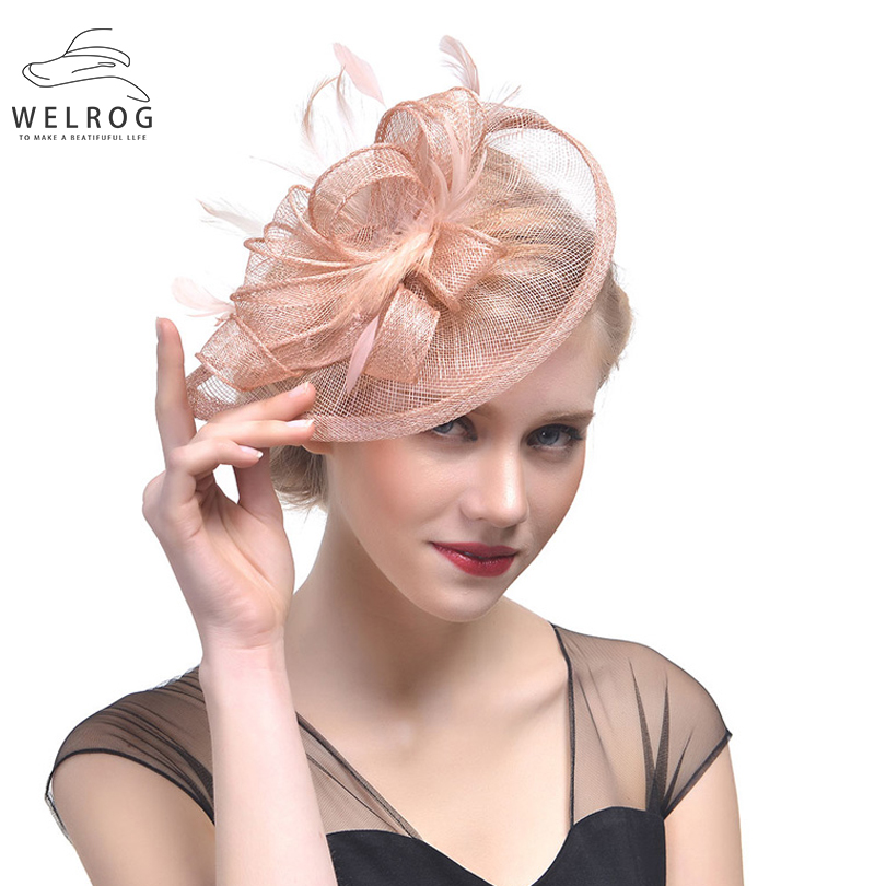 Headwear for Women or Girl Mesh Tea Party Wedding Headpiece Feather Fascinator Hat with Hair Clip
