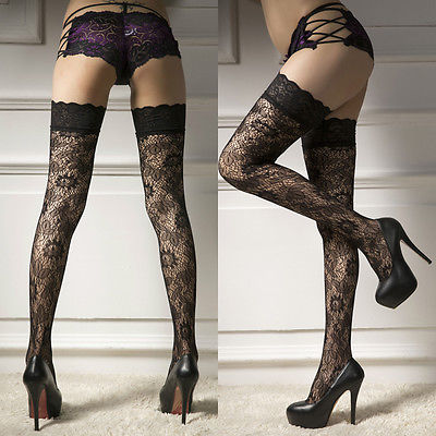 8a7c8db01a7 2017 Sexy Erotic lingerie Leaf Lady Women Sheer Lace Garter Stay Up Thigh  High Hold-ups Stockings Pantyhose