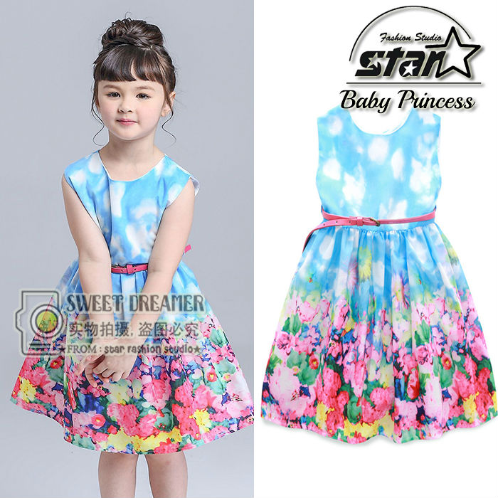2016 New Kids Girls Formal Vintage Costume Sleeveless Floral Patten Gown Banquet Party Princess Dress For Infant Girls Outfit new arrival hot sale toddler princess girls sleeveless ball gown costume latin show fashion formal dancing dress