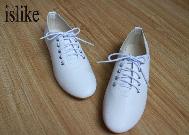 d8db3c8cb042 islike White Shoes Woman Lace-up Women Flats Good Quality Oxford Shoes  Zapatos Mujer Women Casual Ladies Flat Shoes Plus Size41