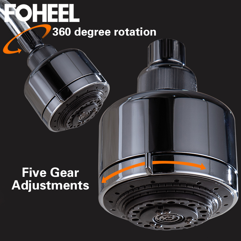 FOHEEL Shower Head High Pressure Shower Head Water Saving Showerhead Ceiling Mounted Fixed Five Gear Rotatable Spa Shower Head