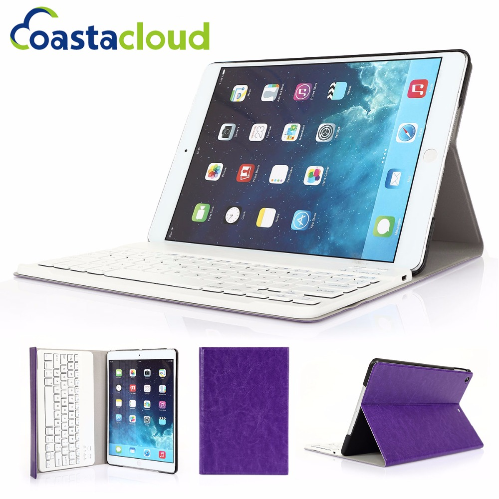 Keyboard Case With Foldable Folding Folio Case Detachable Tablet Wireless Bluetooth Keyboard For New iPad 2017 Air 1 9.7 Purple foldable bluetooth v3 0 keyboard for ipad air black