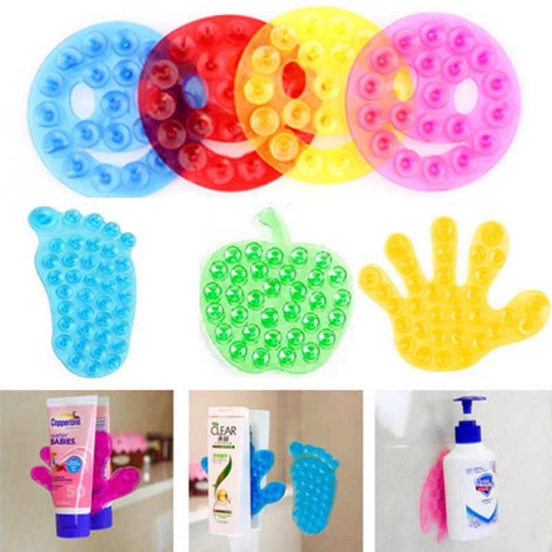 5 sztuk/partia praktyczne mocna dwustronna Sucker zabawki do kąpieli pcv przyssawka śliczne antypoślizgowe mata dłoni uśmiech Sucker łazienka zabawki