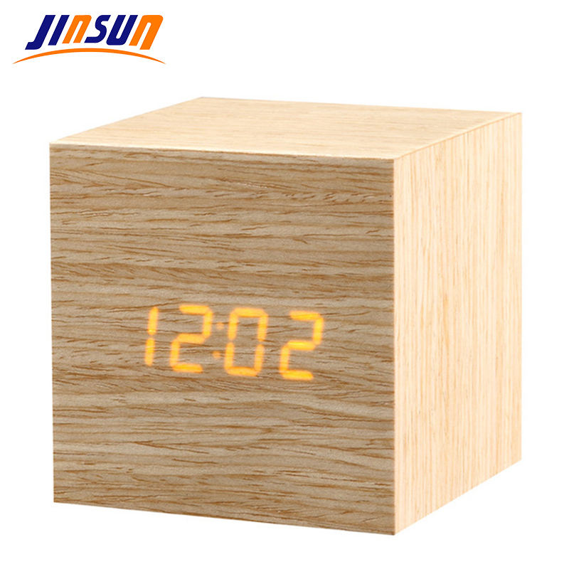 JINSUN Digital <font><b>LED</b></font> Alarm Clock Sound Control Wooden Despertador Desktop Clock Temperature Display Table Clock <font><b>Wekker</b></font> KSW110