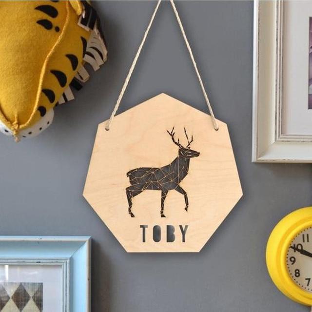 Wooden Personalised Deer Decor Sign Woodland Nursery Decoration ...