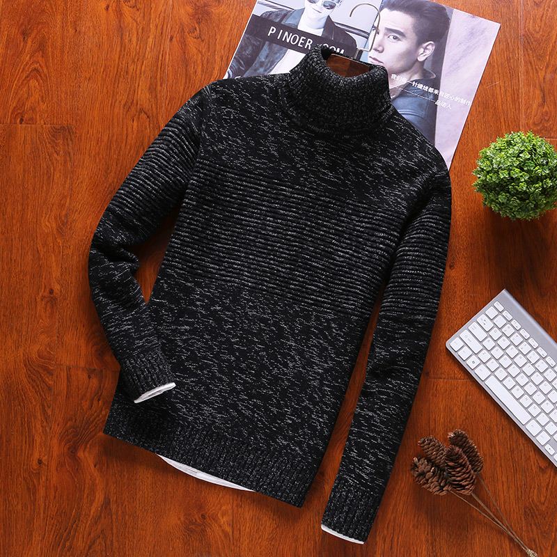 Turtleneck Pullovers Sweater Men And 100% Cotton O-Neck Mens Sweaters Autumn Winter Newest Sweaters Full Casual Clothes