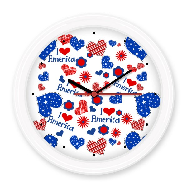 USA America Love Heart Flower Word Festival Illustration Non-ticking Round Wall Decorative Clock Home Decal Wedding Decoration