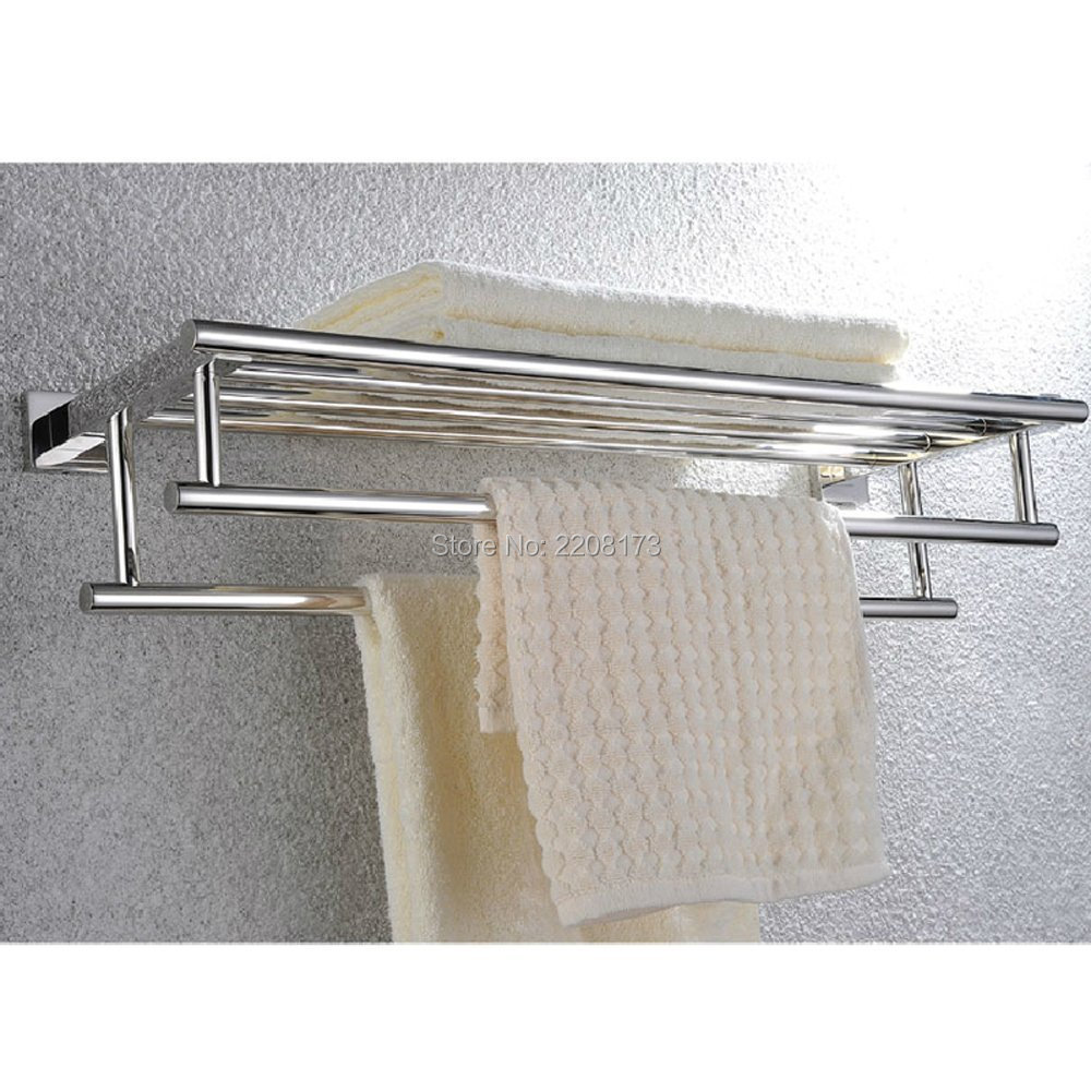 Promotional Retail Chrome Square Style Stainless Steel Shelves Towel Rack With Double Storage