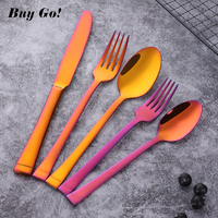 18/10 Stainless Steel Red Plated Flatware Set 5pcs Dinner Spoon and Fork Set Luxery Kitchen Utensils Tableware Cutlery Sets