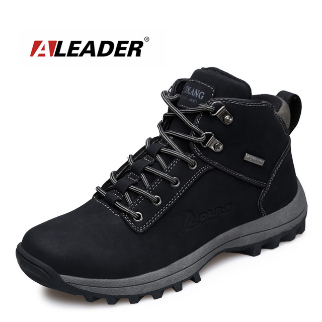 ALEADER Waterproof Mens Work Boots Durable Winter Shoes No-Slip Casual Mens  Safety Boots Winter Outdoor Walking Sneakers Male 563d9db875f4