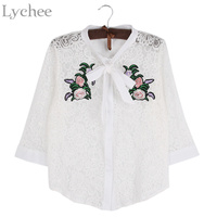 Lychee Spring Summer Women Blouse Hollow Out Flower Embroidery Bow Tie Lace Long Sleeve Shirt Tops