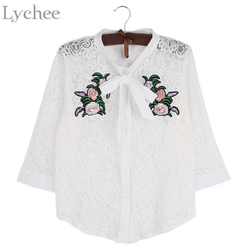 Lychee Ilkbahar Yaz Kadın Bluz Hollow Out Çiçek Nakış papyon Dantel Uzun Kollu Gömlek Tops
