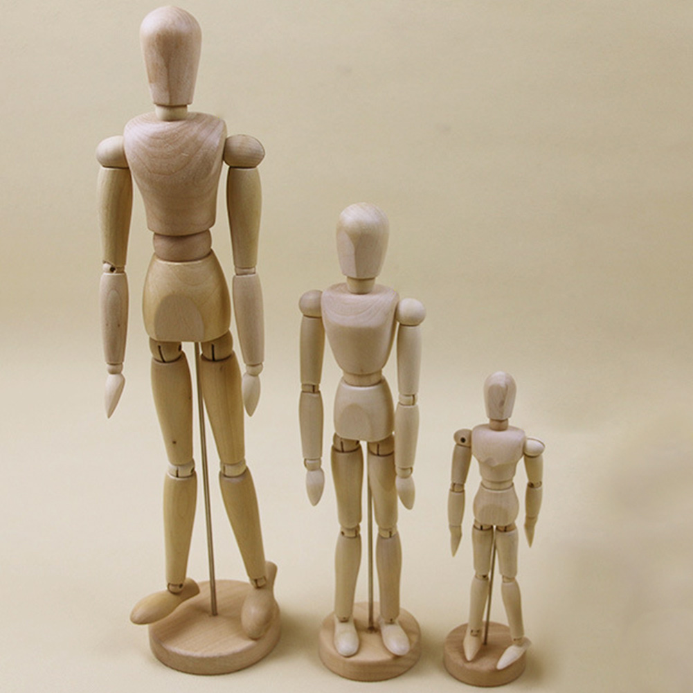 1PCS 4.5 inch Wooden Human Art Drawing Artists Flexible Joints Mannequin Manikins for Kids Children Educational Toys Home Office Desk Decoration