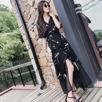 Temperament Midi Dress Chiffon Floral Print Black Summer Dress Brief Classical Dress Elegant Fashion Ol Wild Vestido De Festa
