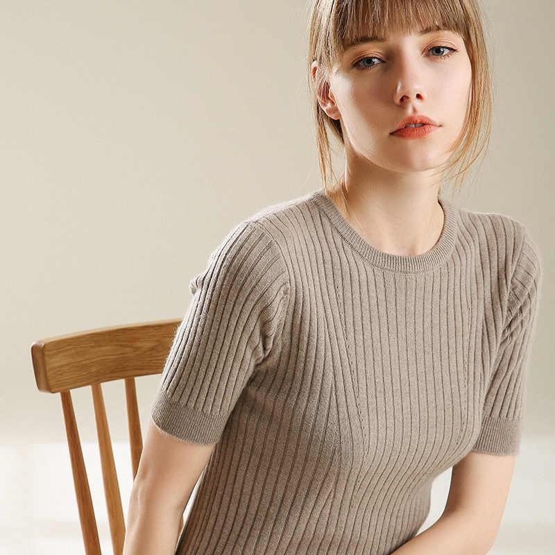 봄 가을 새로운 캐시미어 여름 스타일 니트 스웨터 새로운 패션 여성 짧은 소매 오-넥 크로 셰 뜨개질 캐주얼 스웨터 코트
