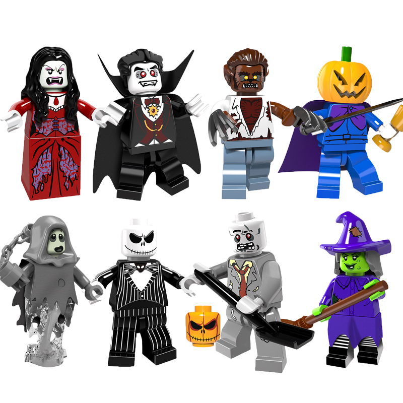 Single Sale Halloween The Horror Theme Movie Vampire Count Zombie Queen Akasha Jack Skellington Ghosts Building Blocks Kids Toys the vampire hunters