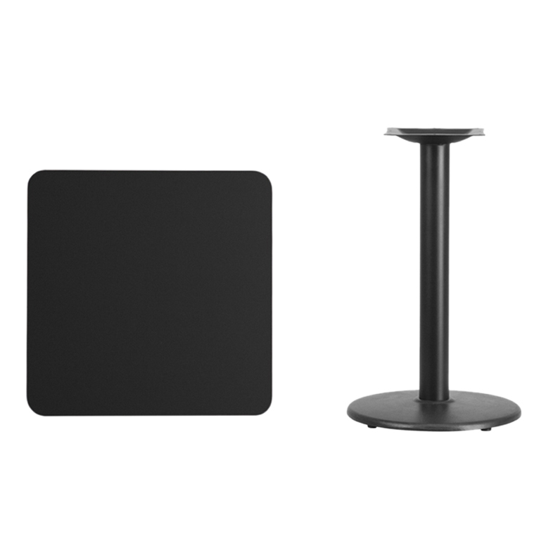 Flash Furniture 24 Square Black Laminate Table Top with 18 Round Table Height Base winsome cora pub table bar height round faux marble top black base
