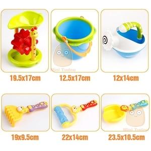 Image 3 - Plastic Kids Beach Toys Sandbox With Cute Animal Model Shovel Rake Bucket Set Outdoor Water Sand Playing Tool Kids Beach Game