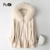 PUDI B181204 women's winter warm real wool jacket vest genuine foxcollar leisure girl coat lady jacket overcoat