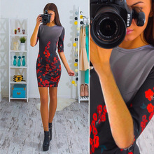 2017 Europe and the United States new multi-color printing sleeve sleeves dress