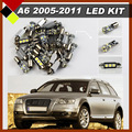 Auto LED Package Lights Under Door  Number License Plate Front&Rear Map Dome Lamps Car Interior  Kit  White Fit A6 2005-2011