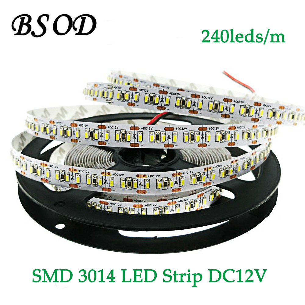 Tira de luces LED BSOD DC12V SMD3014 240 leds/m 5 metros/rollo blanco cálido No impermeable IP20 cinta de cuerda Flexible de alto brillo
