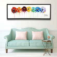 Hand Painted large long wall oil paintings Modern abstract floral canvas art Painting On white Canvas Art flower Decor Pictures
