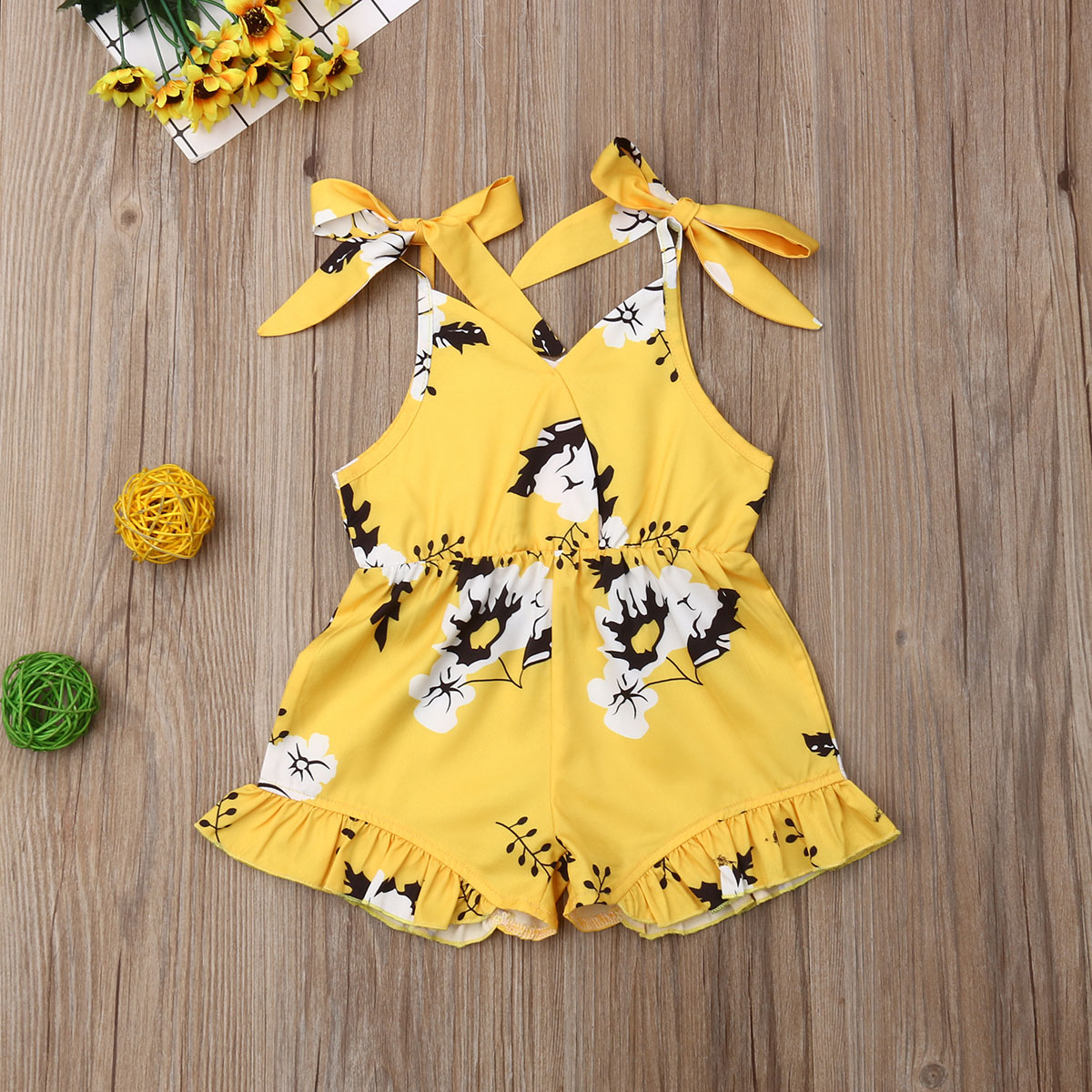 Pudcoco Summer Toddler Baby Girl Clothes Sleeveless Flower Print Strap Romper Jumpsuit One-Piece Outfit Sunsuit Clothes Summer