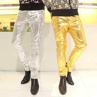 2014 Spring Gold Silver Male Slim PU Trousers Pants Personality Male Leather Pants