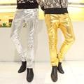 Nuevo 2014 3 colores oro plata negro PU piel de imitación de cuero hombre pantalones 3XL más tamaño para hombre pantalones rectos clásicos