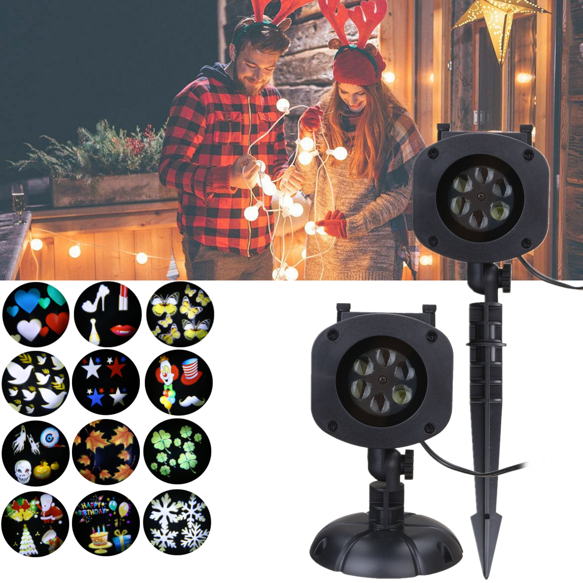 Christmas Projection Light+12 Pattern Cards+Remote Control 6 Color LED Lights Waterproof EU/US/UK/AU Plug Flash Stage Lighting free shipping us plug outdoor ip65 waterproof stage light christmas lights xmas light projector christmas uk us eu plug xx