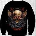 2015 новинка пуловер мужчины / женщины череп злой ангел печать 3d кофты Harajuku толстовки Большой размер бесплатная доставка