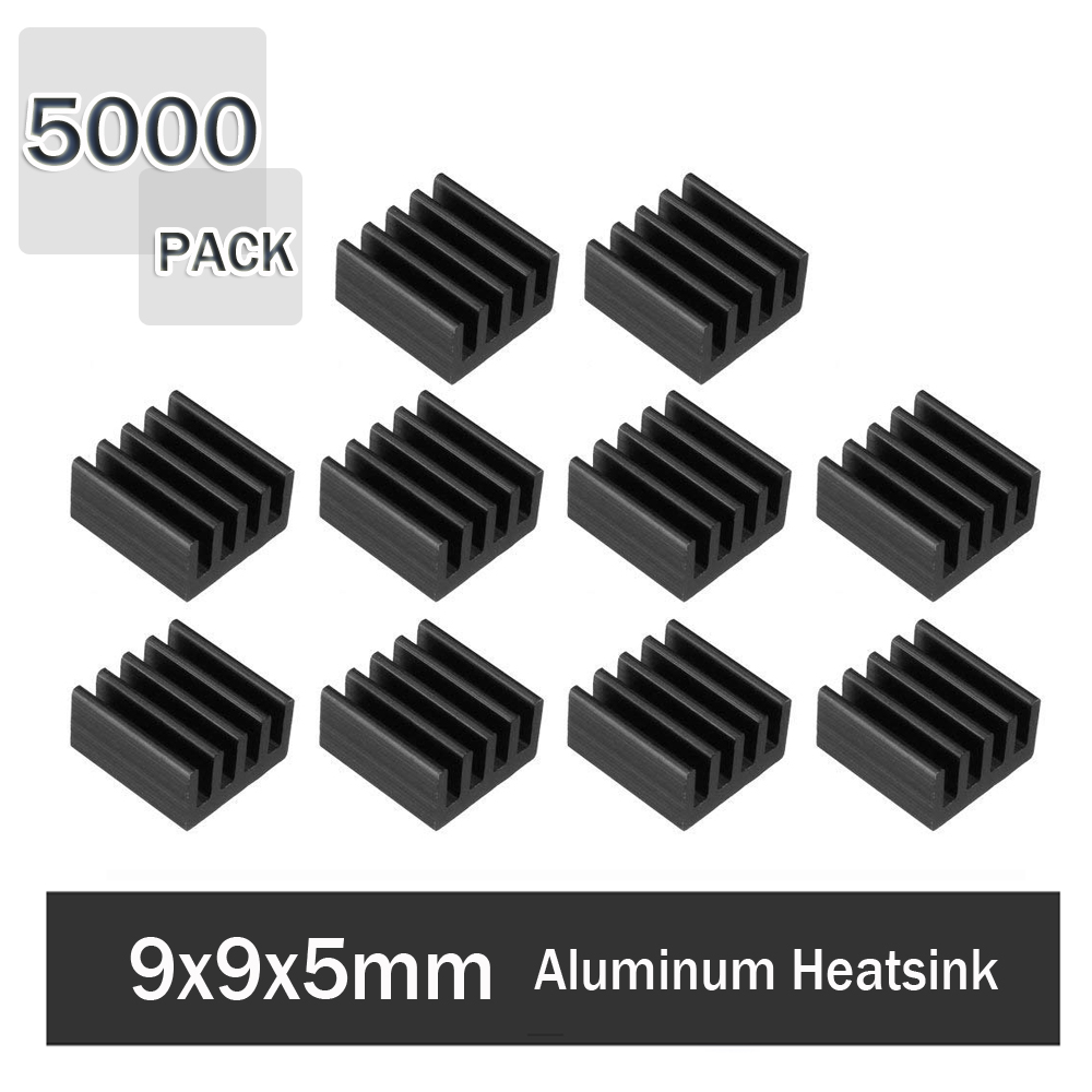 5000Pcs Gdstime 9x9x5mm Aluminum Heatsink Cooler Circuit Board for Raspberry Pi, IC chips, Mosfet with Adhesive Tape image