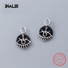 INALIS New Cute Unique Design 925 Sterling Silver Drop Earrings Black Round Inlay Eye Dangle Brincos for Women Girl Bar Jewelry inalis new delicate cute drop earrings 925 sterling silver long chian with angle dangle brincos red clear cz fine jewelry girl