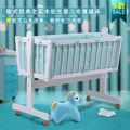 Export solid wood white color solid color baby cradle with baby bedding set