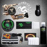 Professional Tattoo Kit Rotary Machine Gun Set Power Supply Black Pigment Needles Grip Tip Set With Carrier Box