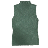 Casual Women's Turtleneck Tank Tops Sleeveless Green Lady's Regata Knitted Women Top Female Elastic Apricot Black Vests KKC1059A