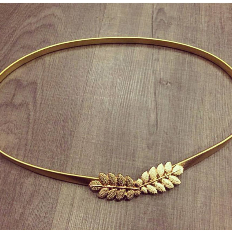 Cute Gold Olive Leaf wedding   Belt   for women pure metal elastic chain waist   belt   gold and silver in stock BG-070