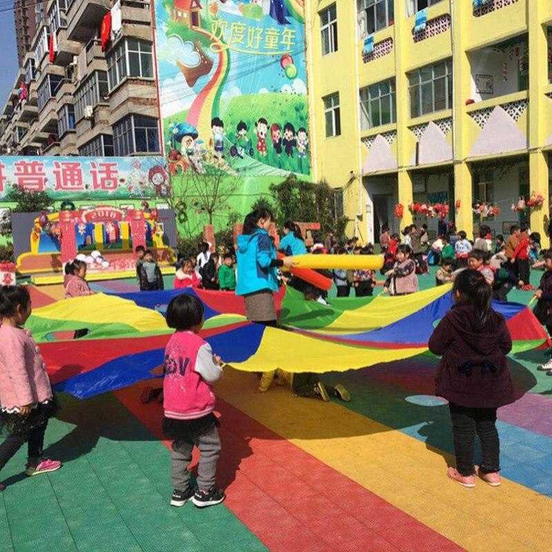 3 M/4 M/5 M diamètre enfants Parachute avec trous, maternelle jeu de plein air piquer une taupe ou sauter-bag, enfants jeux arc-en-ciel parapluie - 5