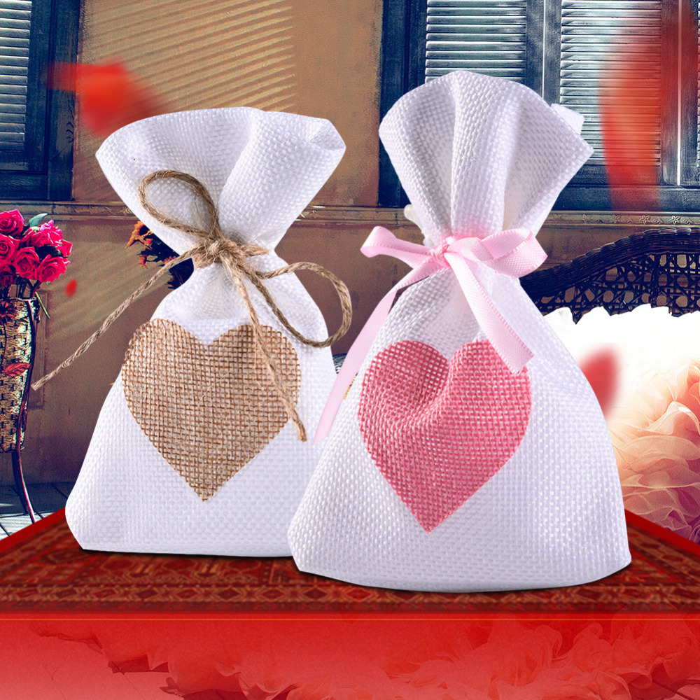 12pc/lot Trendy Natural Linen Pouches Heart Pattern Drawstring Linen ...