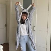 Winter Thick Flannel Hooded Bathrobe Women Cartoon Fleece Spa Bath Robes Cute Nightgown Kimono Sleepwear Peignoir