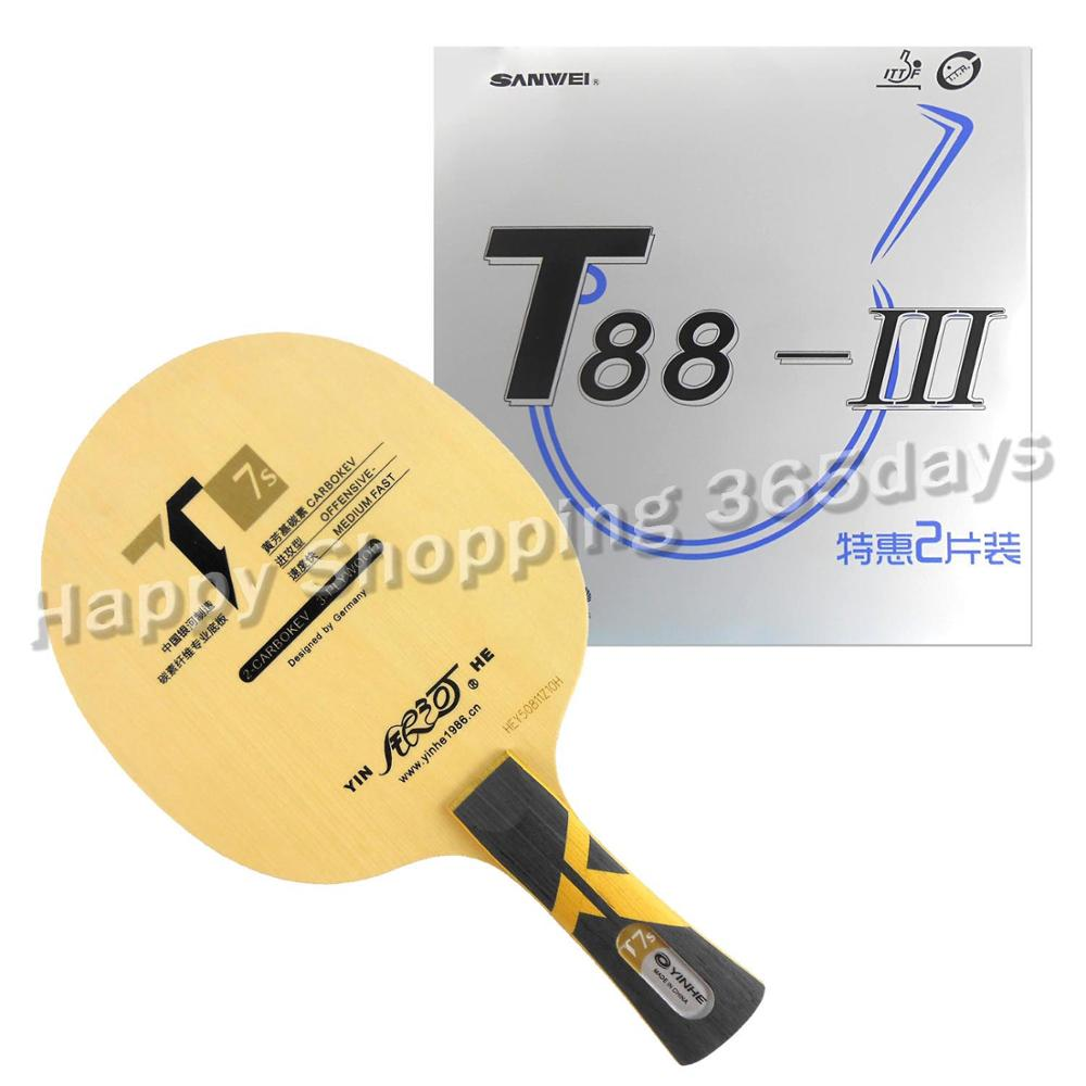 Pro Table Tennis PingPong Combo Racket Galaxy YINHE T7s Blade with 2x Sanwei T88-III Rubbers pro table tennis pingpong combo racket galaxy yinhe t7s blade with 2x sanwei t88 iii rubbers shakehand long handle fl