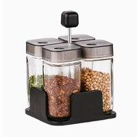 2 pz/set Glass Spice Jar Stagionatura Box Sale Zucchero Pepe Condimenti Bottle Holder Tavolo Da Cucina Nuova Promozione del prodotto