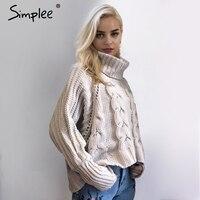 Simplee Turtleneck Knitted Pullover Sweater Women Long Sleeve Soft Jumper Pull Femme Autumn Winter 2017 Elegant