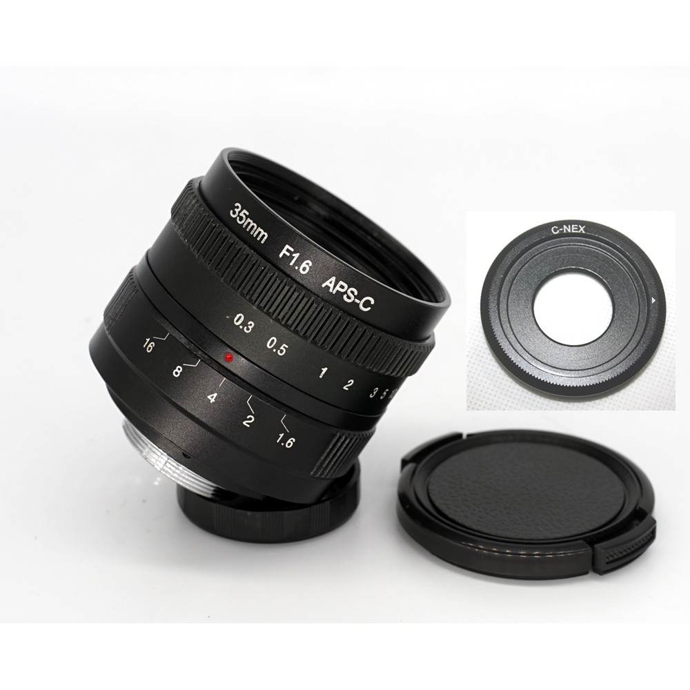 35mm F/1.6 C-Mount Lens for APS-C sensor Sony E NEX-7 NEX6 NEX5T/5R/3 A5100 A6000 A5000 A3000 A6300 A6500 camera mirroless 25mm f1 4 c mount camera lenses for aps c m4 3 fx eosm n1 p q nex e p1 e pl1 g1 gf1 gh1 nex 3 nex 5