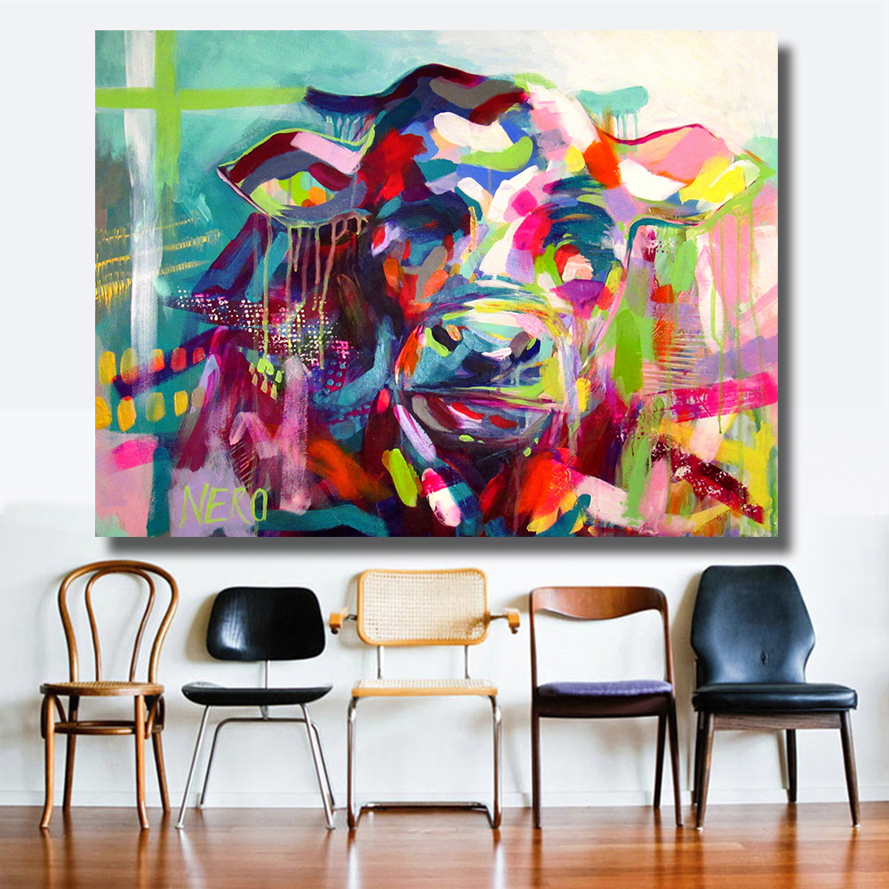 Hdartisan vintage wall decorations colorful cow style for Materials for canvas painting