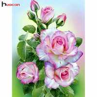Huacan Diamond Mosaic Full Square Drill Flower 5D Diamond Painting Rhinestone Diamond Embroidery Craft Home Decorative Gift
