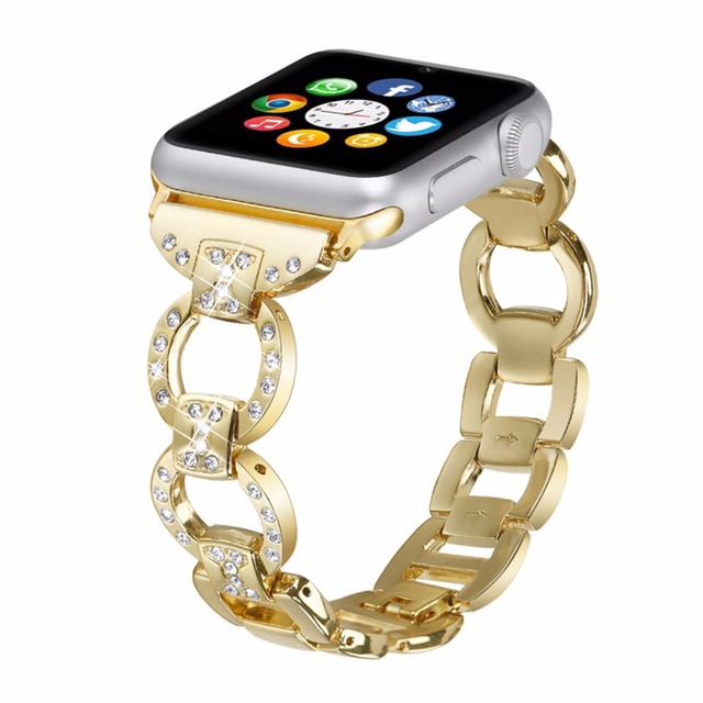 EIMO Stainless Steel Strap For Apple Watch Band 42mm/38mm iwatch 3/2/1 diamond Metal Link Bracelet wrist Belt Watchband black